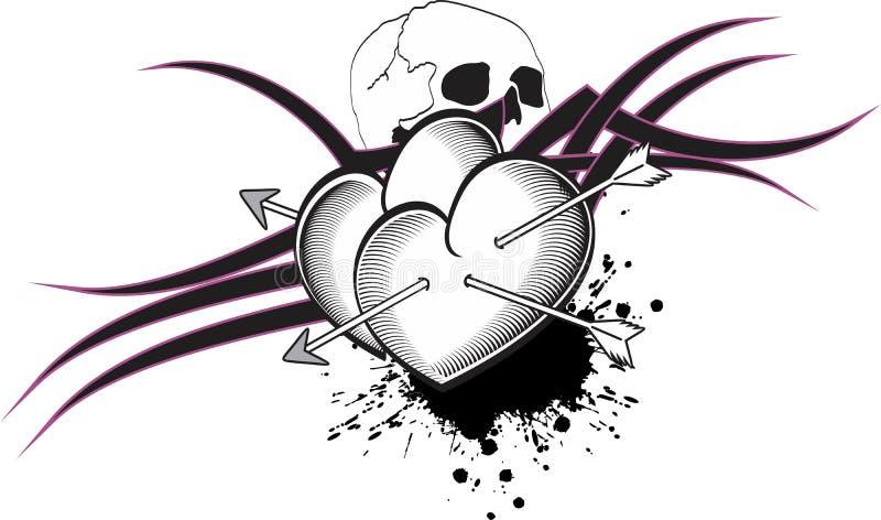 Tshirt da tatuagem das setas do coração ilustração stock