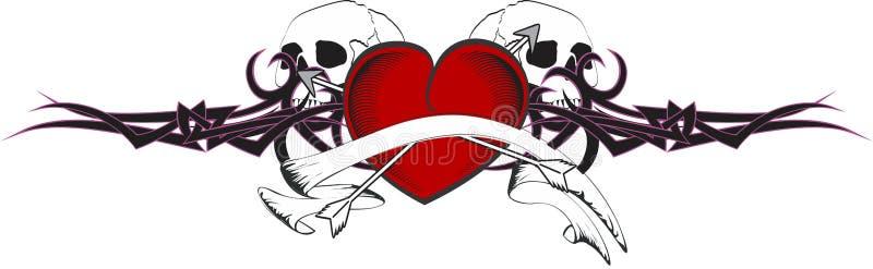 Tshirt da tatuagem do coração e da fita ilustração stock