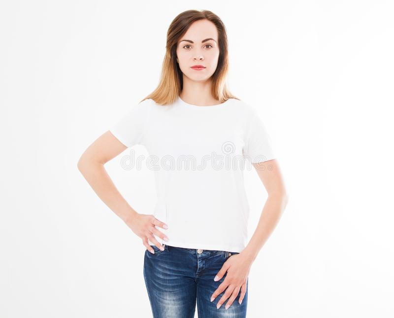 Tshirt design, people concept - closeup of woman in white shirt, front isolated. Mock up template for design print royalty free stock photography