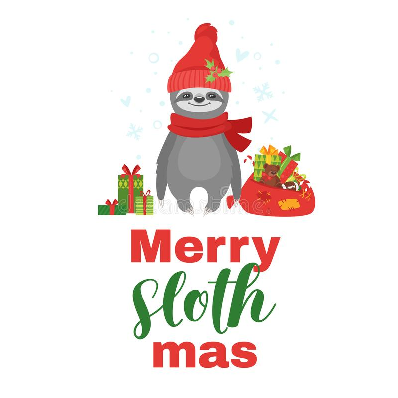Tshirt design with sloth. Vector cartoon style illustration of cute sloth character holding Santa Claus gift bag full of presents, isolated on white background vector illustration