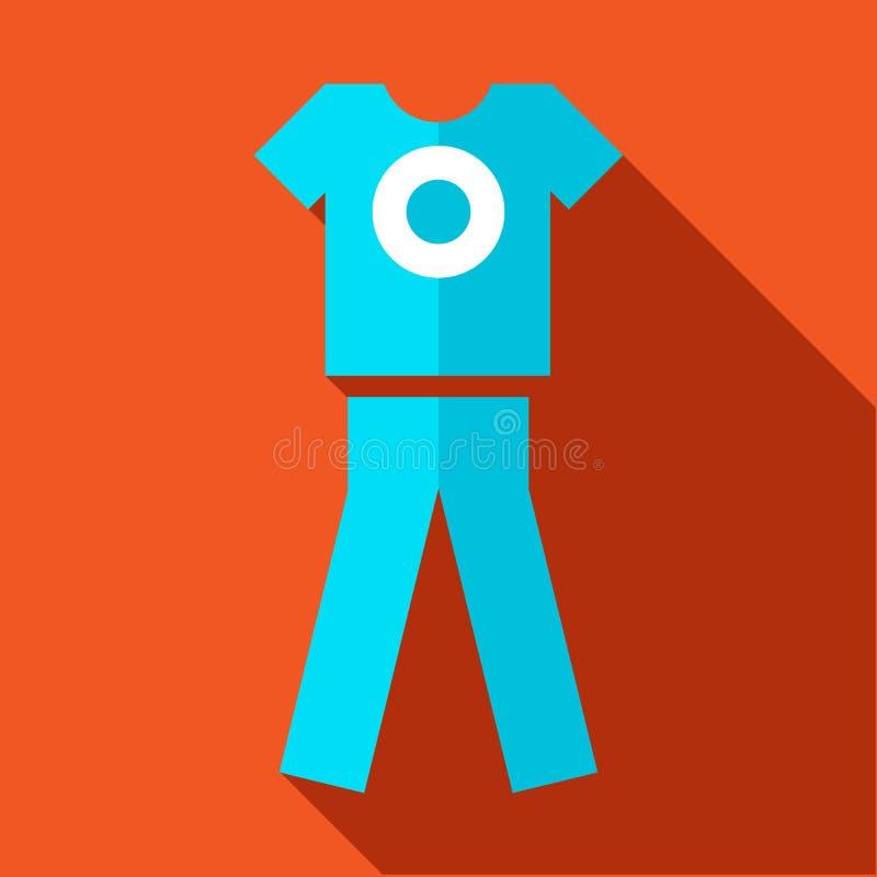 Tshirt i spodnia, sporty mundurujemy ikonę, mieszkanie styl royalty ilustracja