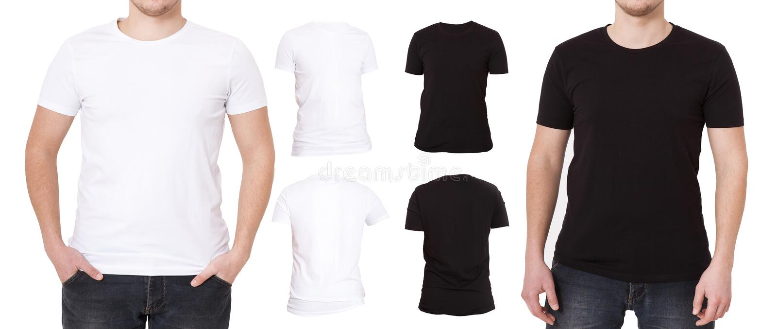 Tshirt set isolated on white background. Back and Front view Shirts. Template, Blank copy space and mock up on t-shirt. Man royalty free stock photos