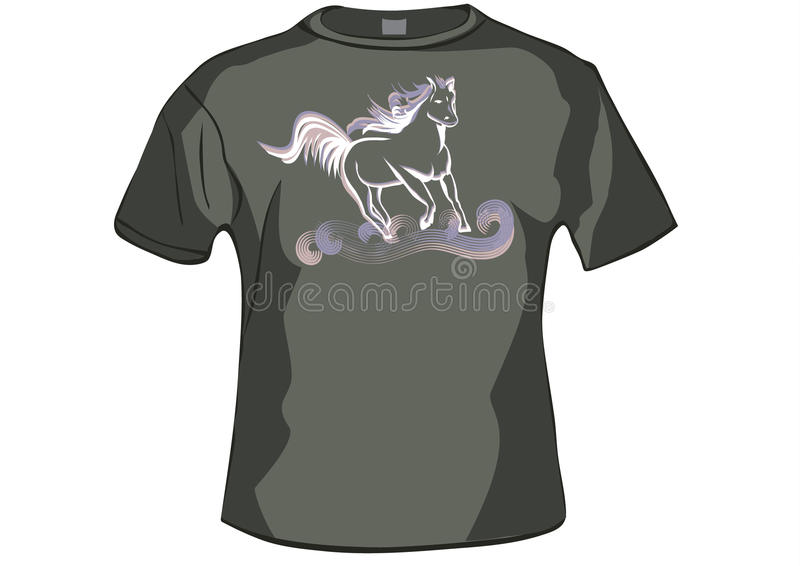 TShirt ,shirt front with horse royalty free illustration