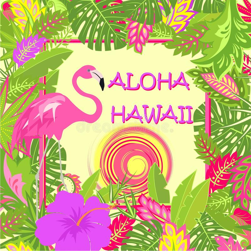 TShirt summery print with Aloha Hawaii lettering, pink flamingo, tropical leaves, hot sun and purple hibiscus for bag, Tshirt, sum vector illustration