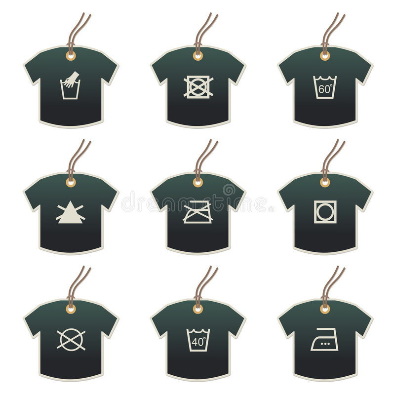 Download Tshirt Tags With Fabric Care Motifs Stock Vector - Image: 5937772