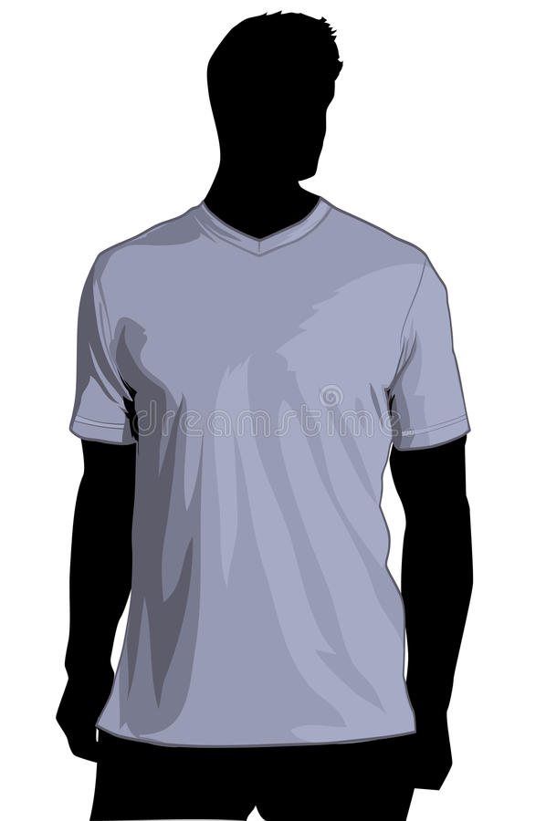 Download TShirt temlate with V-neck stock illustration. Image of front - 13869343