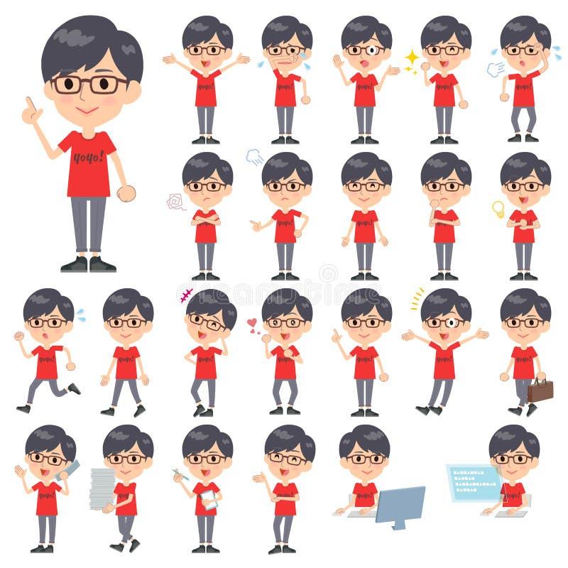 Tshirt vermelho Glasse men_1 ilustração do vetor