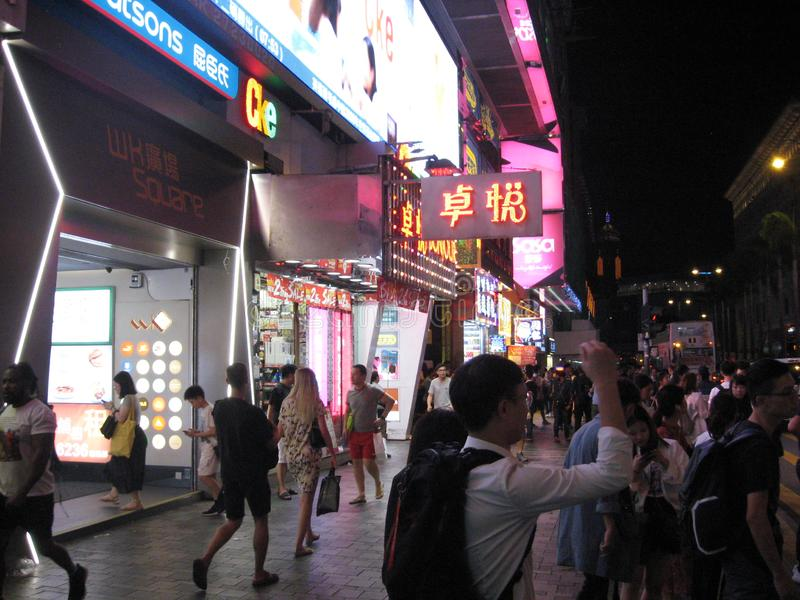 Tsim Sha Tsui bij nacht royalty-vrije stock afbeeldingen