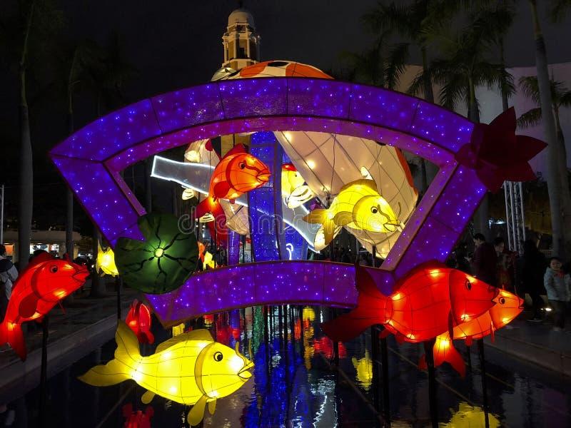 TSIM SHA TSUI, HONG KONG- 17 de febrero de 2018 - la linterna china imagenes de archivo