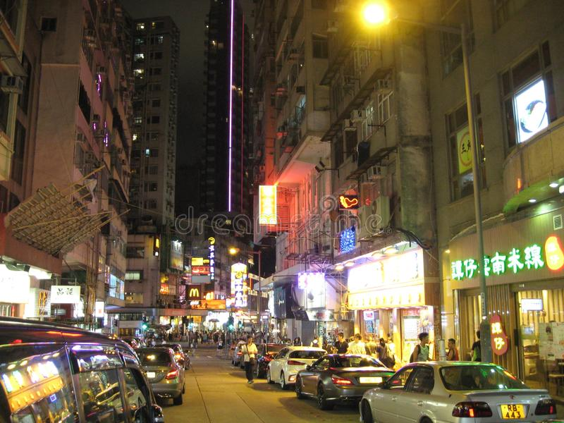 Tsim Sha Tsui, Kowloon, Hong Kong bij nacht royalty-vrije stock foto's