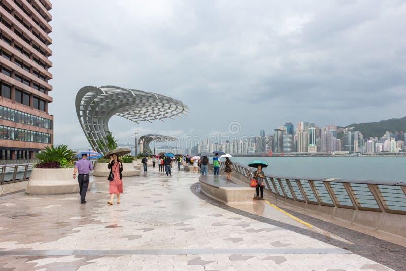 Tsim Sha Tsui Promenade kallade Aveny av stjärnorna i Hong Kong i en regnig dag royaltyfria foton
