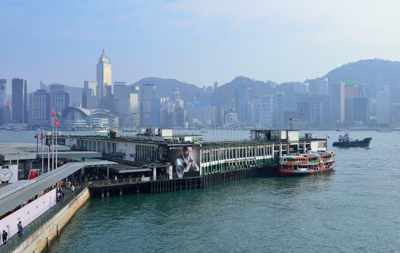 Tsim Sha Tsui Star Ferry Pier, Hong Kong arkivbilder