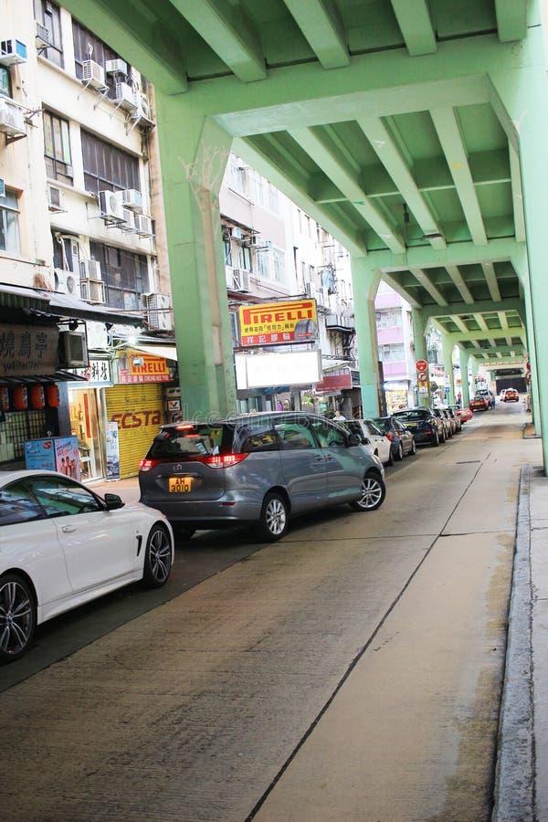 Tsing Fung Street Flyover, Tin Hau immagini stock libere da diritti