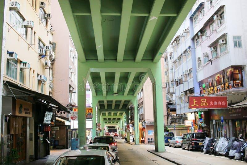 Tsing Fung Street Flyover, Tin Hau fotografie stock libere da diritti