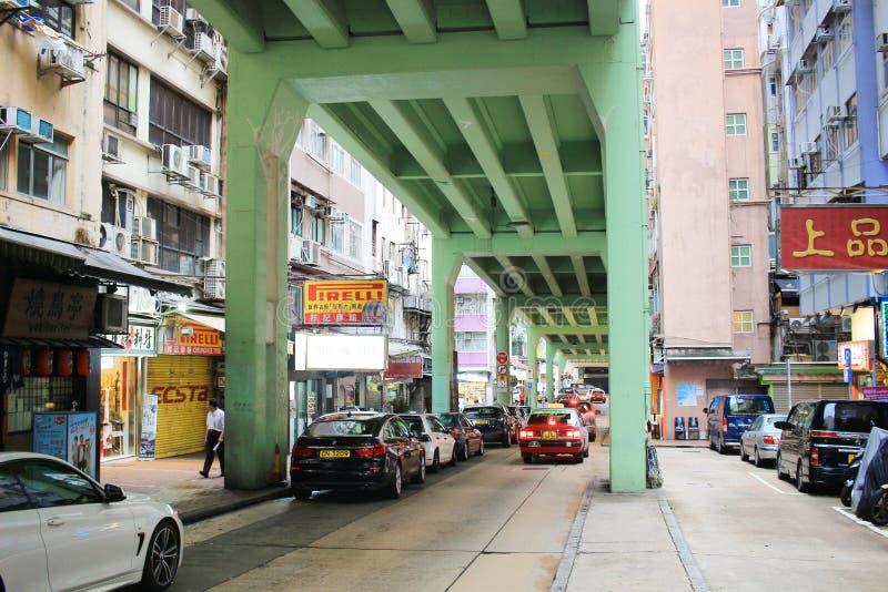 Tsing Fung Street Flyover, Tin Hau imágenes de archivo libres de regalías