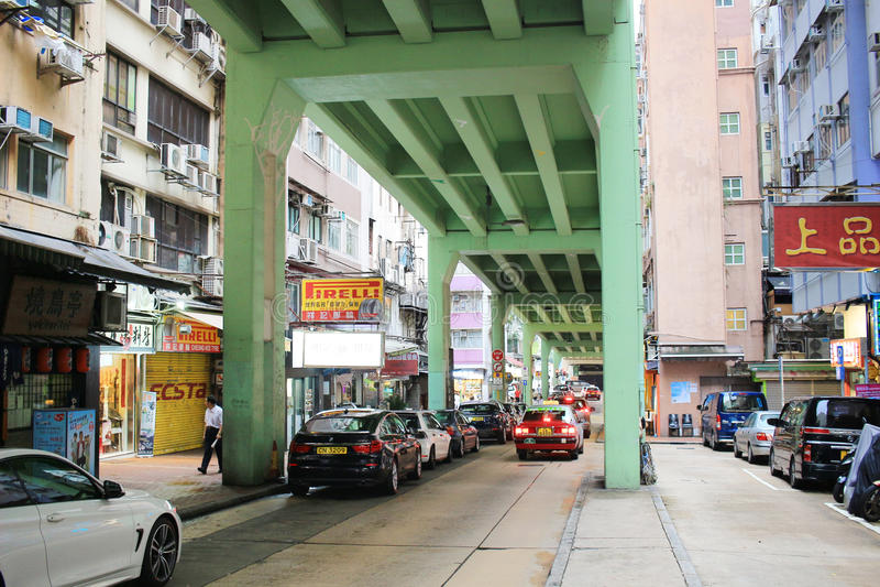 Tsing Fung Street Flyover, Tin Hau fotografía de archivo