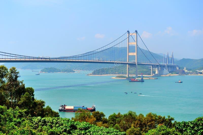 Tsing Ma桥梁在香港 免版税库存照片