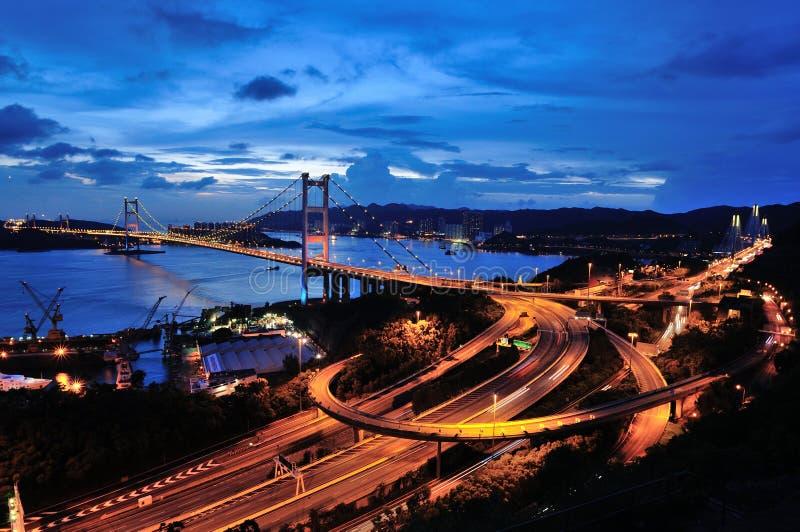 Tsing Ma Bridge fisheye royaltyfria foton