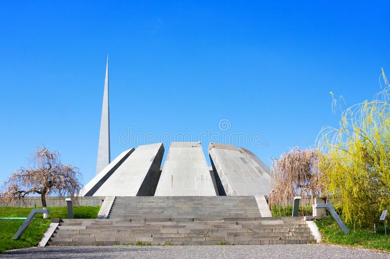 Tsitsernakaberd Volkerenmoord herdenkings is complex het officiële gedenkteken van Armenië gewijd aan de slachtoffers van Armeens stock fotografie