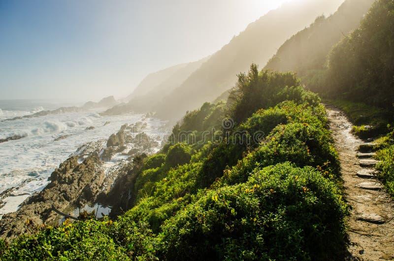 Tsitsikamma nationalpark, trädgårds- rutt, indiskt hav, Sydafrika arkivbilder