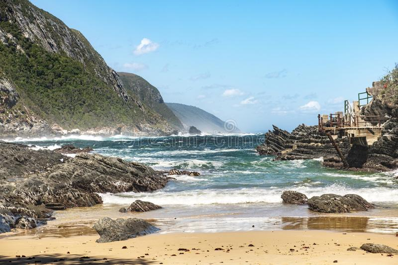 Tsitsikamma storms river mouth. Bay, secondary line of the suspension bridge royalty free stock photo