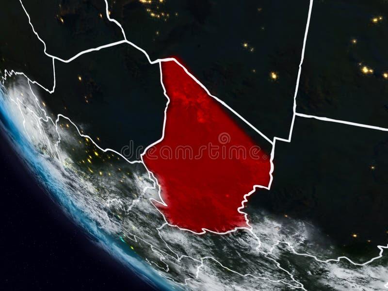 Tsjaad bij nacht van ruimte royalty-vrije illustratie
