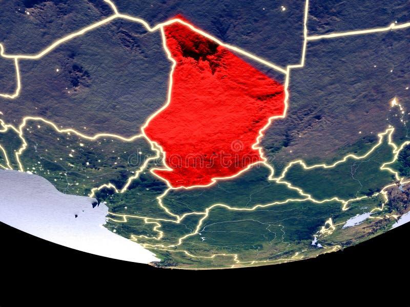 Tsjaad bij nacht van ruimte stock fotografie