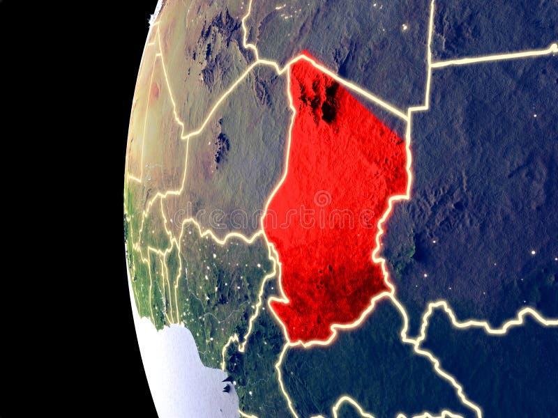 Tsjaad op bol van ruimte royalty-vrije illustratie