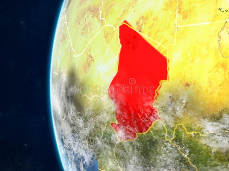 Tsjaad op bol van ruimte stock illustratie