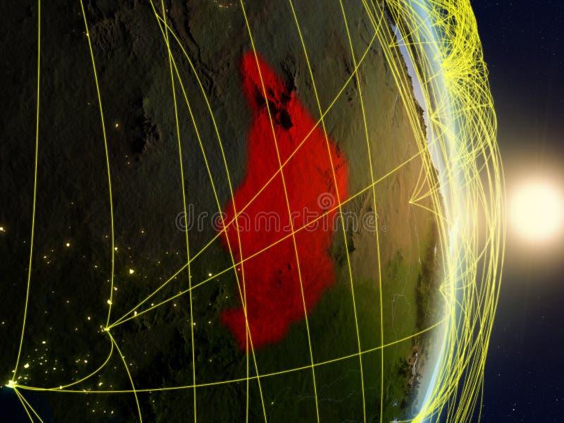 Tsjaad op genetwerkte aarde stock fotografie