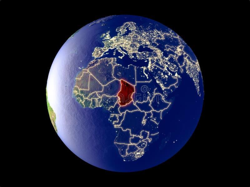 Tsjaad ter wereld van ruimte stock illustratie