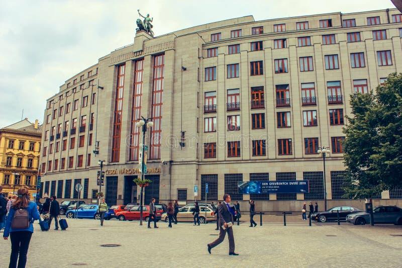 Tsjechisch centraal National Bank en de reserve, banka van Ceska Narodni zijn een openbare financiële instelling royalty-vrije stock afbeeldingen