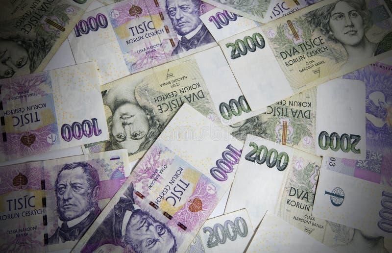 Tsjechisch geld, Tsjechische kronen royalty-vrije stock afbeeldingen