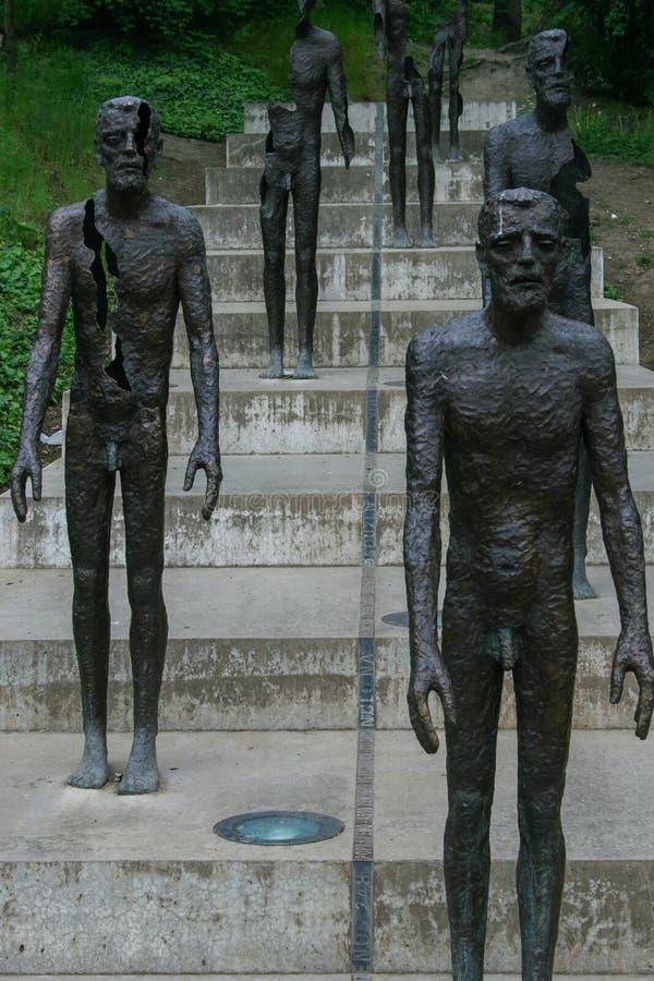 2009 05 09, Tsjechisch Praag, Standbeelden van het Gedenkteken aan de slachtoffers van Communisme Gezichten van Praag stock afbeeldingen