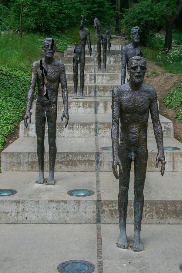 2009 05 09, Tsjechisch Praag, Standbeelden van het Gedenkteken aan de slachtoffers van Communisme Gezichten van Praag stock foto