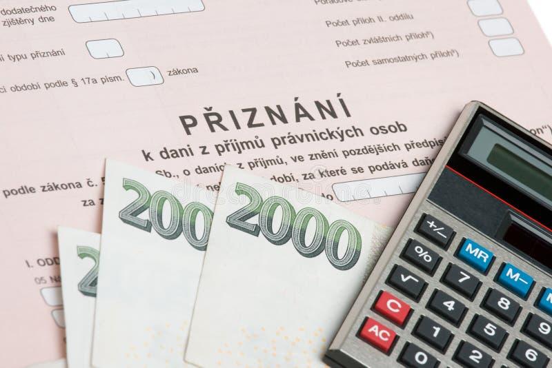 Tsjechische belastingsvorm royalty-vrije stock foto's