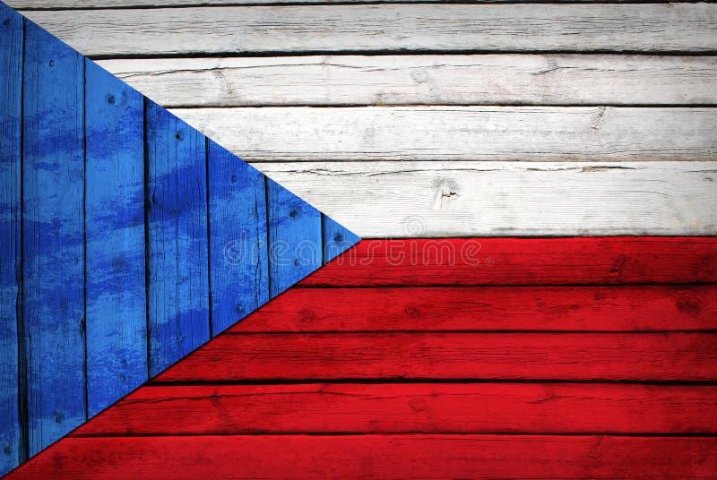 Tsjechische die vlag op houten raad wordt geschilderd stock afbeelding