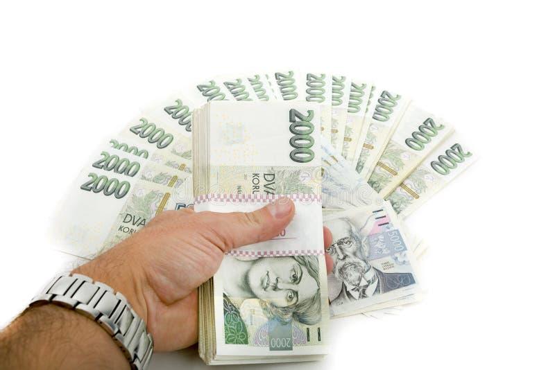 Tsjechische duizend van bankbiljettennominale waarde één en twee kronen royalty-vrije stock foto's