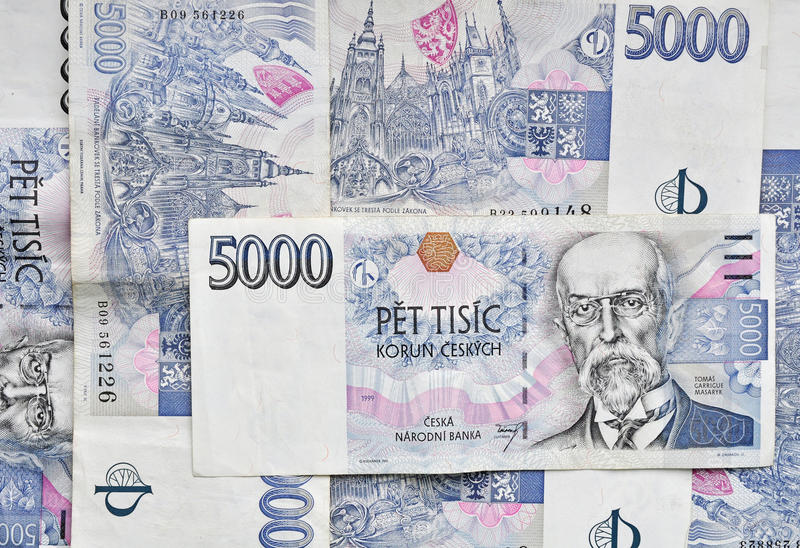 Tsjechische geldachtergrond royalty-vrije stock foto's