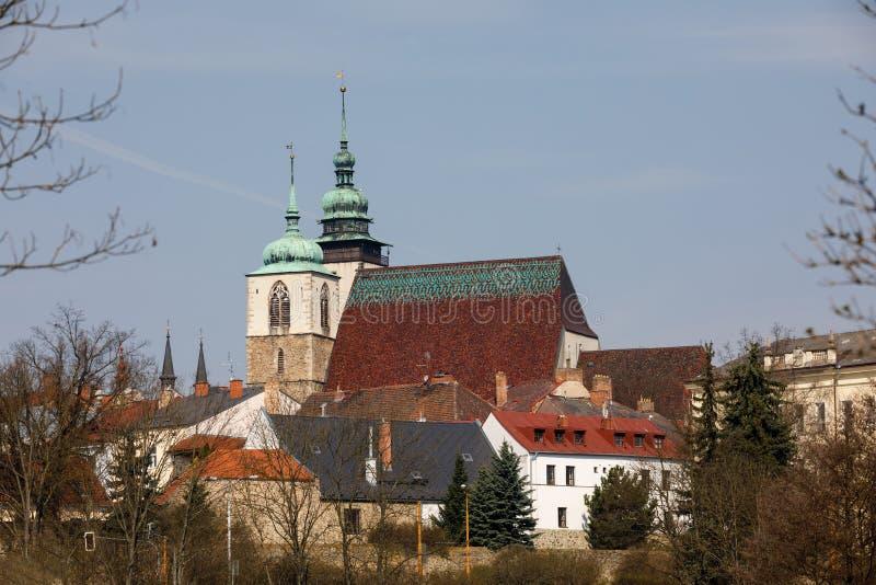Tsjechische kerk van St James Groter in Jihlava, stock foto's