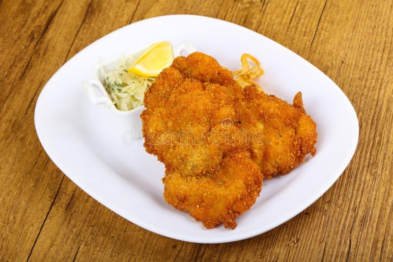 Tsjechische keuken - schnitzel royalty-vrije stock afbeelding
