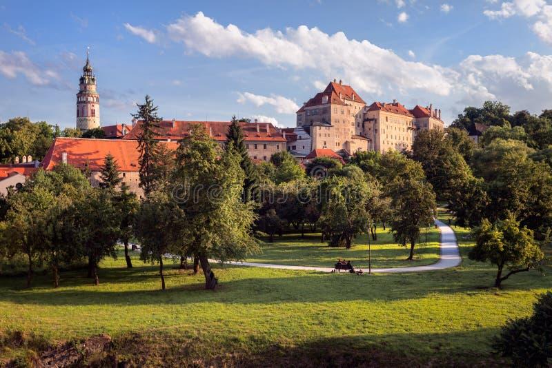 Tsjechische Krumlov Mening van de stad Tsjechische Republiek royalty-vrije stock foto's