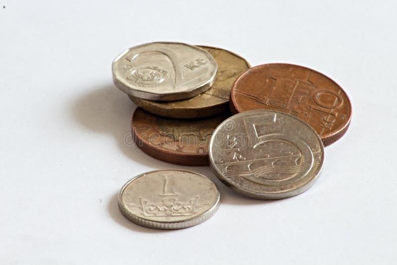 Tsjechische muntstukken, kronen stock afbeelding