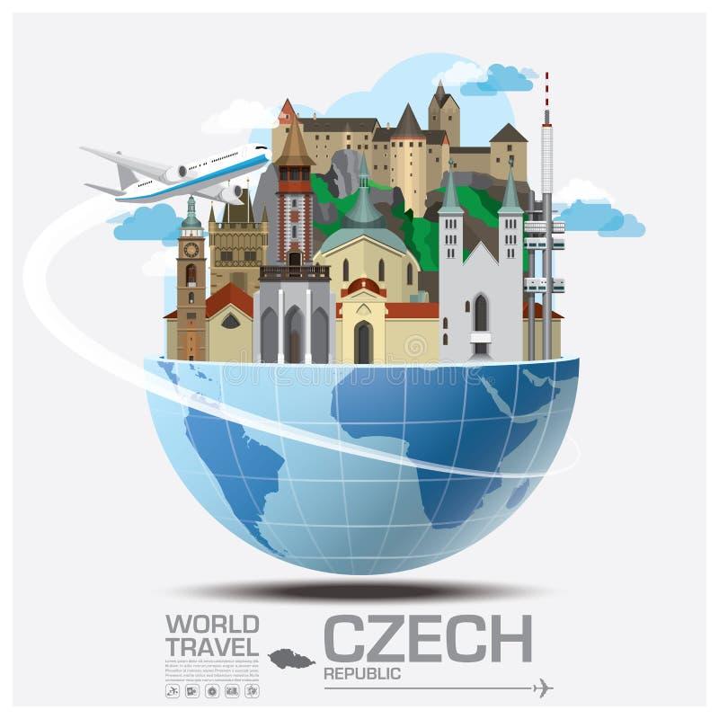 Tsjechische Oriëntatiepunt Globale Reis en Reis Infographic royalty-vrije illustratie