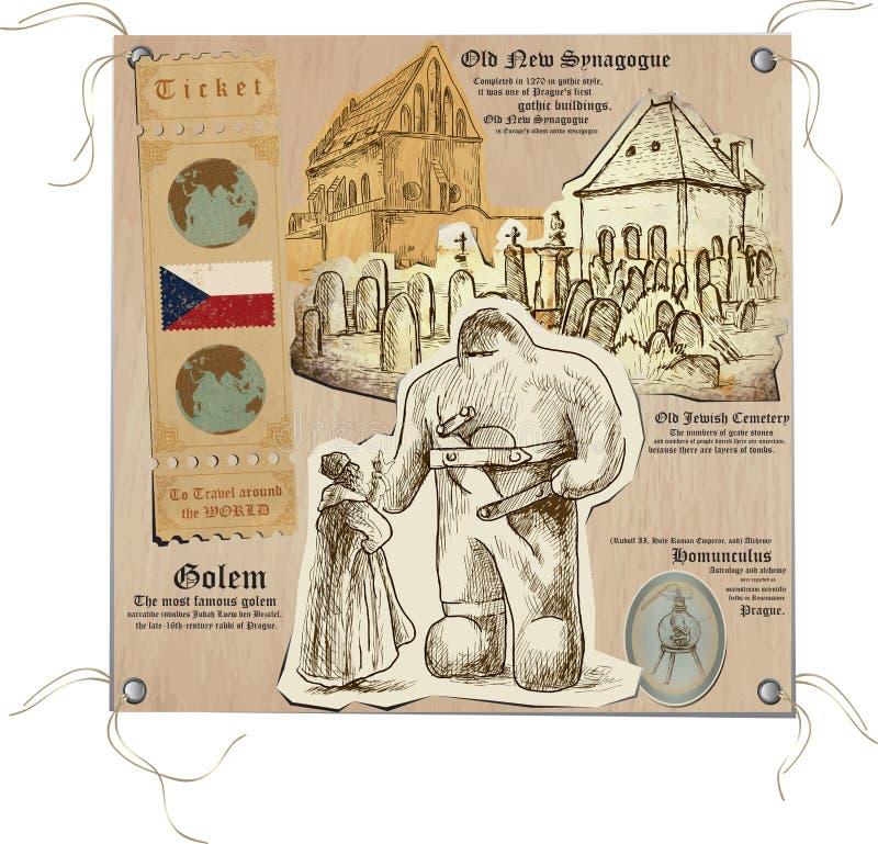 Tsjechische Republiek - Beelden van het Leven, Mystiek Praag stock illustratie