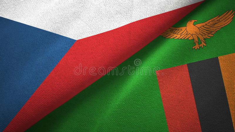 Tsjechische Republiek en Zambia twee vlaggen textieldoek, stoffentextuur vector illustratie