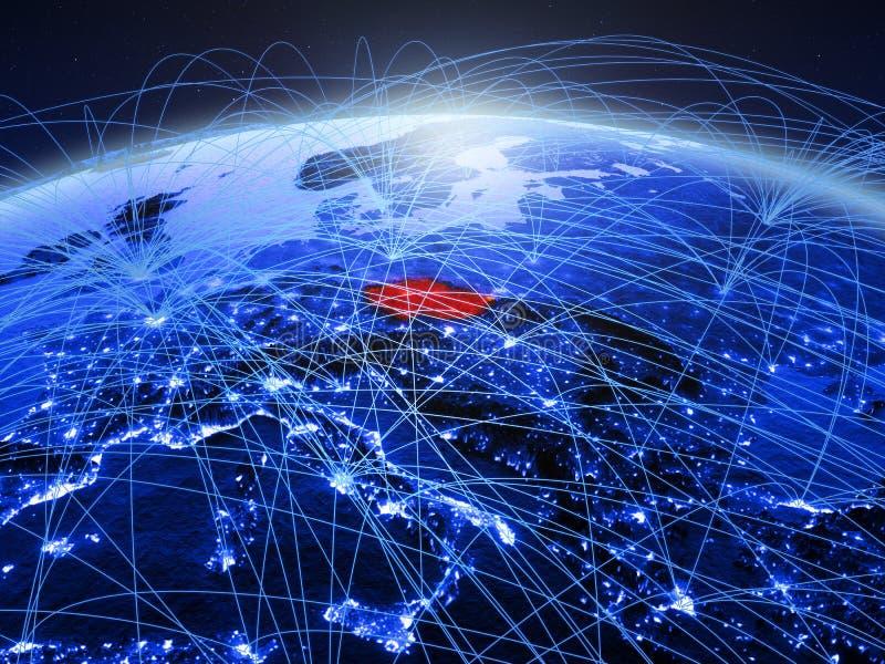 Tsjechische republiek op blauwe digitale aarde met internationaal netwerk die mededeling, reis en verbindingen vertegenwoordigen  stock foto's