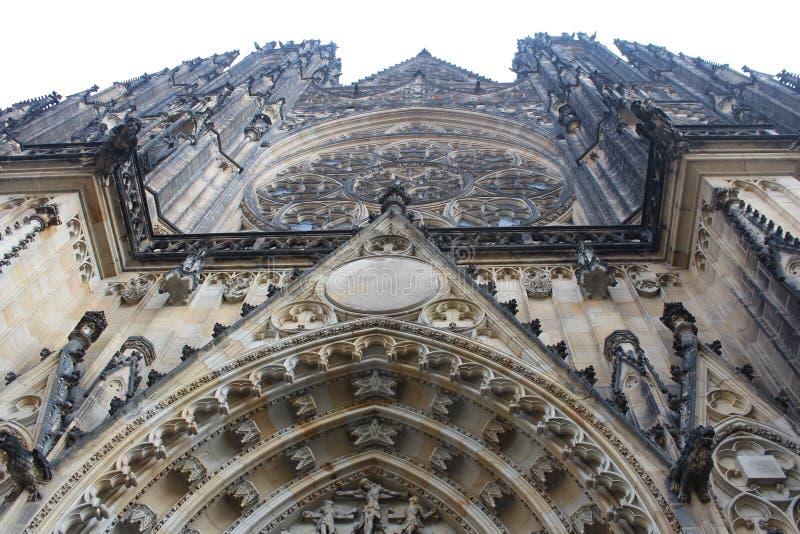 Tsjechische Republiek, Praag: St Vitus kathedraal Een steekproef van Gotische architectuur stock afbeeldingen