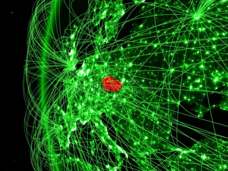 Tsjechische republiek van ruimte op groen model van Aarde met internationale netwerken Concept groene mededeling of reis 3d royalty-vrije stock fotografie