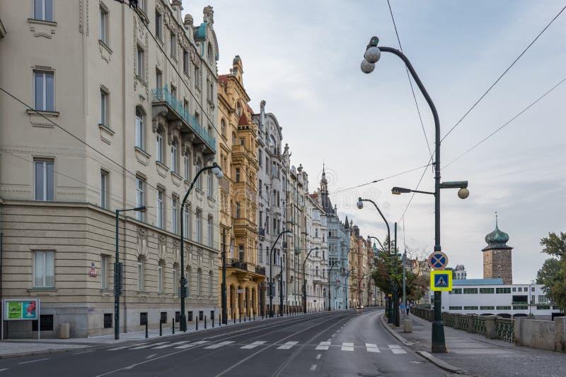 Tsjechische straat in Praag van de binnenstad stock fotografie